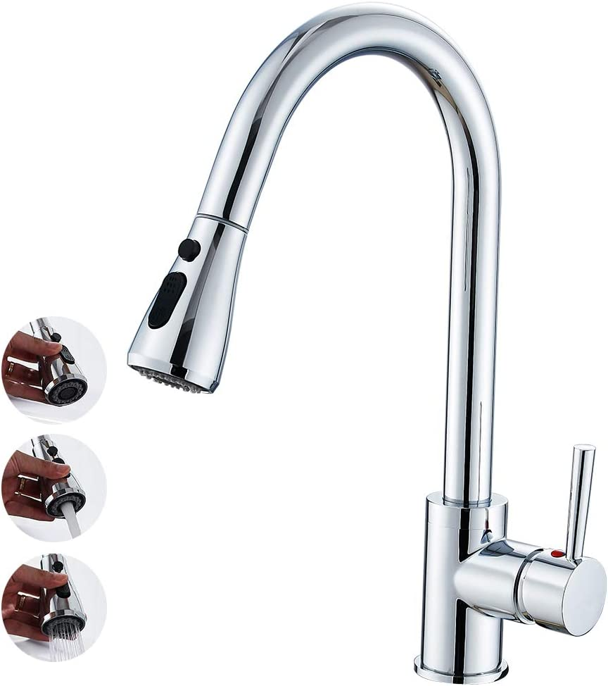 Chrome Pull Out Kitchen Faucets Modern One Hole//Handle Mixer Taps