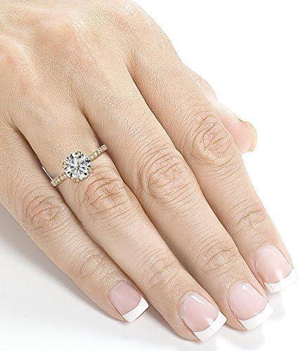 Kobelli Moissanite and Lab Grown Diamond Engagement Ring 2 1/10 CTW 14k Yellow Gold (HI/VS, DEF/VS)