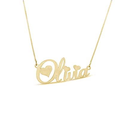 Amazon.com  18K Gold Plated Personalized Sterling Silver Heart Name Necklace  for Women Custom Engraved with Any Names  Jewelry 591c25b1d8