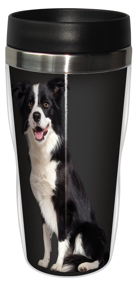 16-Ounce Tree Free Tree-Free Greetings SG25013 I Heart Border Collies Sip N Go Stainless Lined Travel Tumbler