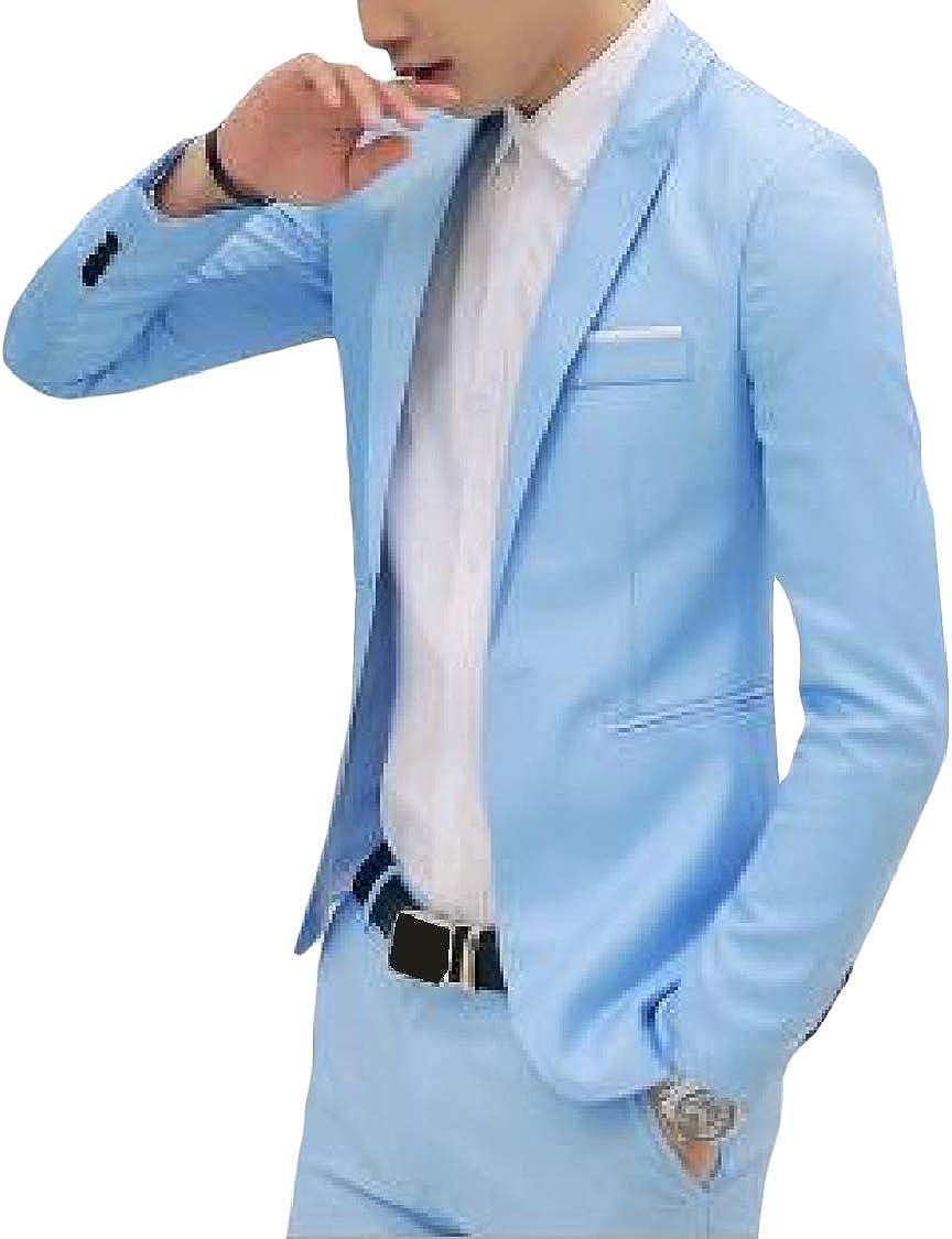 Fieer Mens Long Sleeve Slim Casual Plus Size Lapel Solid Blazer Jacket