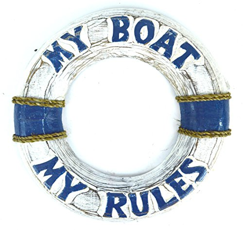 Hand Carved My Boat My Rules Lifesaver Buoy Tiki Bar Sign