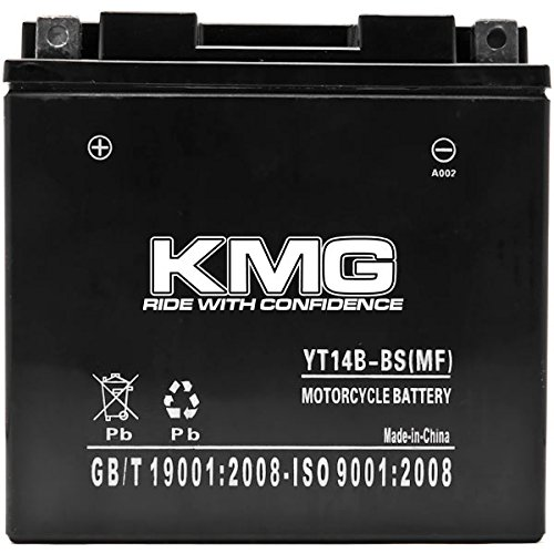 KMG YT14B-BS Battery For Yamaha 1854 Roadliner Raider Stratoliner 2006-2014 Sealed Maintenace Free 12V Battery High Performance SMF OEM Replacement Powersport Motorcycle ATV Snowmobile Watercraft