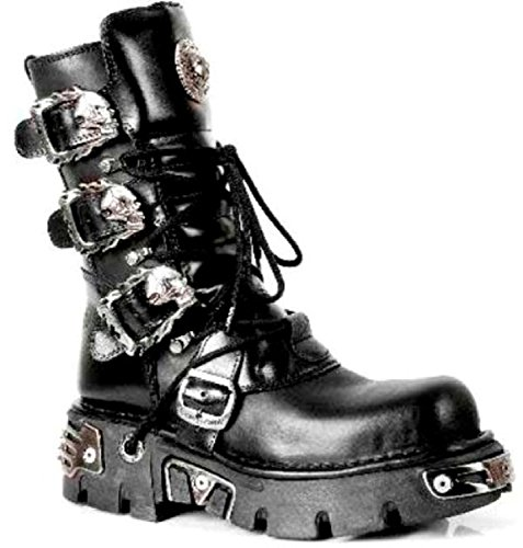 New Rock 391 Stunning Leather Black Metallic Gothic Boots S1 M Unisex Biker Black rrxCqdTp