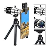 LIEQI Camera Lens kits,4 in 1 Cell Phone lens, 12X Optical Zoom Telephoto Lens+15X Macro Lens+198°fisheye lens+0.63X Wide Angle Lens Tripod for iPhone Samsung Huawei Ipad Tablet PC Laptops and other s