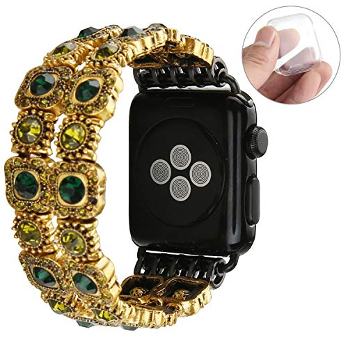 GEMEK Retro Bracelet Compatible with Apple Watch Band Black 42mm 44mm, Elastic Stretch Faux Crystal Agate Straps Replacement Compatible with iWatch Women Wristbands Series 4/3/2/1 Cuff (Green)]()