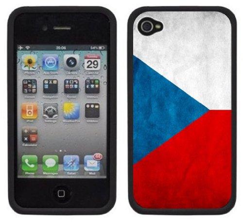 Drapeau Tchèque   Fait à la main   iPhone 4 4s   Etui Housse noir