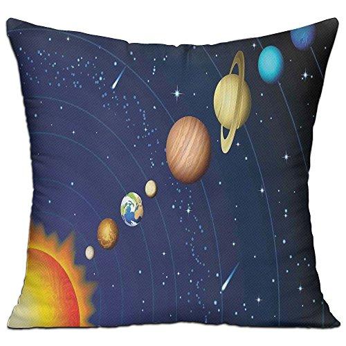 Venus Solar System - HAIXIA Space Solar System With Sun Uranus Venus Jupiter Mars Pluto Saturn Neptune Image Dark Blue Orange House Decor Throw Pillow Cover 18
