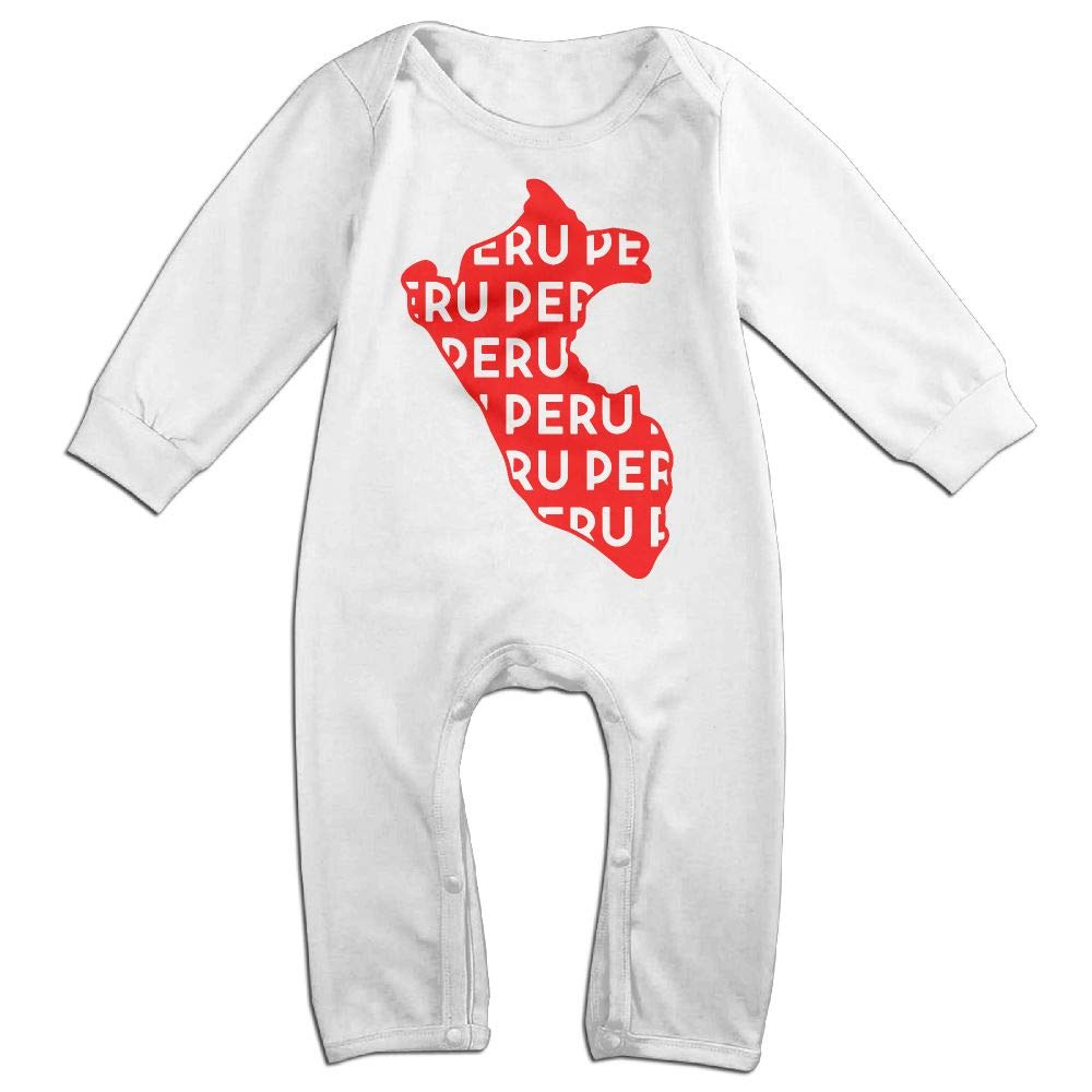 UGFGF-S3 Peru Map Text Long Sleeve Newborn Baby Romper Jumpsuit Onsies for 6-24 Months Bodysuit