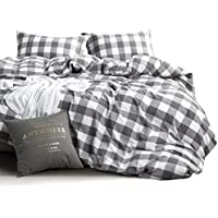 Wake In Cloud - Washed Cotton Duvet Cover Set, Buffalo...