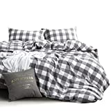 Wake In Cloud - Washed Cotton Duvet Cover Set, Buffalo Check Gingham Plaid Geometric Checker Pattern Printed in Gray Grey and White, 100% Cotton Bedding, with Zipper Closure (3pcs, King Size)