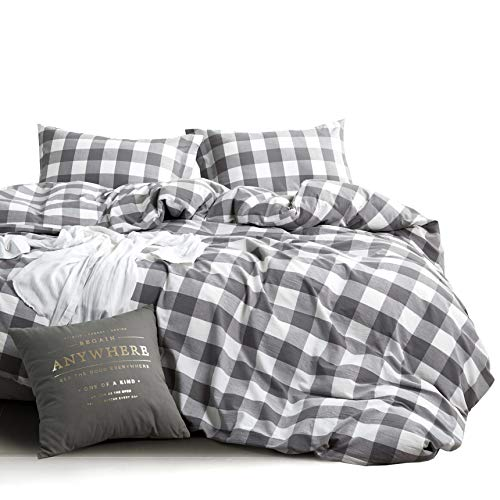 Wake In Cloud Washed Cotton Duvet Cover Set Buffalo Check Gingham Plaid Geometric Checker Pattern Printed In Gray Grey And White 100 Cotton Bedding With Zipper Closure 3pcs Queen Size