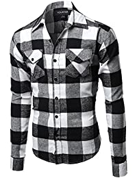 Youstar Men's Flannel Plaid Checkerd Long Sleeve TShirts