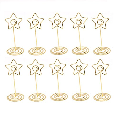 (JANOU Gold Star Place Card Stand Table Name Photo Stand Memo Holder for Office Wedding Party Decoration Pack 10pcs)