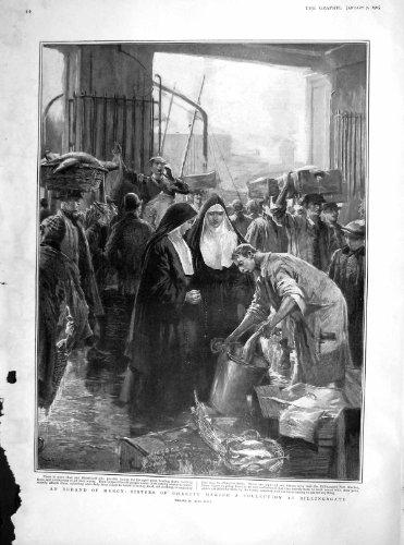 old-print Print 1905 Nuns Sisters Charity Fish Billingsgate 012M171 ()