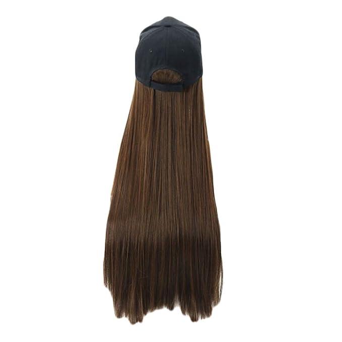 YONSIN - Gorra de béisbol de pelo largo y recto de 76,2 cm de ...
