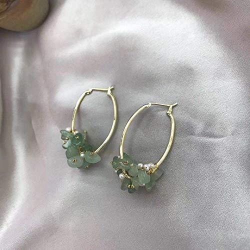 14k Gold Fill Green Jade Earrings - Gemstone Drop Earrings - -Handmade Dangle Hoop Earrings for Christmas Gift for Women,Girl