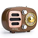 Retro Bluetooth Speaker Radio, Portable AM FM Shortwave Radio with Rechargeable Battery Support