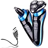 Hatteker 2 in 1 Electric Razor for Men Rotary Shaver Waterproof Nose Hair Trimmer Cordless with USB Rechargeable Wet and Dry Valentines Gifts for Men Husband Dad Boyfriend