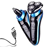 Hatteker 2 in 1 Electric Razor for Men Rotary Shaver Waterproof Nose Hair Trimmer Cordless with USB Rechargeable Wet and Dry Birthday Gifts Anniversary Gifts Fathers Day Gifts
