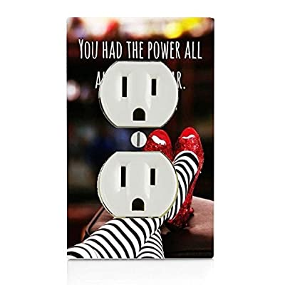 Trendy Accessories Inspirational Quote Red Slippers Design Print Image Electrical Outlet Plate: Home & Kitchen