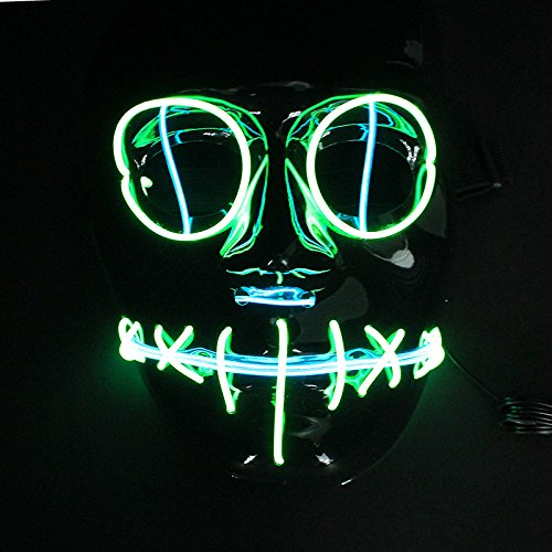 Halloween Mask Flash El Wire Led Glowing Beauty