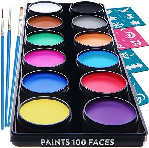 Blue Squid Face Paint Kit for Kids – 30 Stencils, 12 Large Washable Paints, 3 Brushes, Safe Facepainting for Sensitive Skin, Professional Quality Body & Face Facepaints Halloween Makeup Paint Supplies