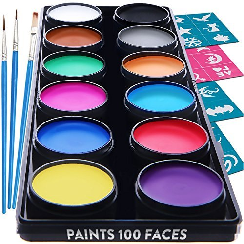 Face Paint Kit for Kids - 30 Stencils, 12 Large Washable Paints, 3 Brushes, Safe Kids Facepainting for Sensitive Skin, Professional Facepaints, Halloween Makeup Kit Body Paint Supplies
