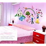 The Splash Cute Princess with Dream Prince Wall Stickers (Multi-Color, Wall Covering Area - 125(w) x 65(h) cm)