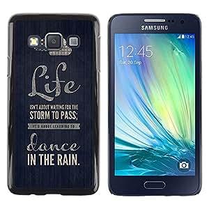 FECELL CITY // Duro Aluminio Pegatina PC Caso decorativo Funda Carcasa de Protección para Samsung Galaxy A3 SM-A300 // Quote Dance Text Motivational Black
