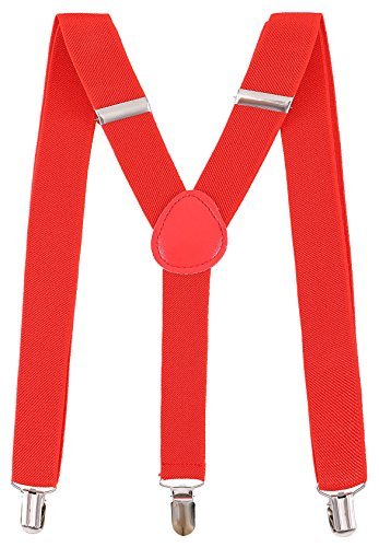 Livingston Unisex Clip-On Adjustable Elastic Suspendes Halloween Costume Accessories, Red