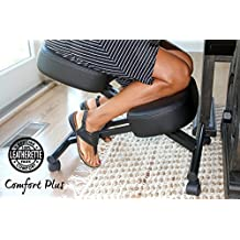 The Comfort Plus Perfect Posture Chair | Kneeling Chair Extra Padding and Ultra Soft Design, Black, Adjustable with Rollers | Ergonomic Kneeling Chair for Home and Office | Warranty Included