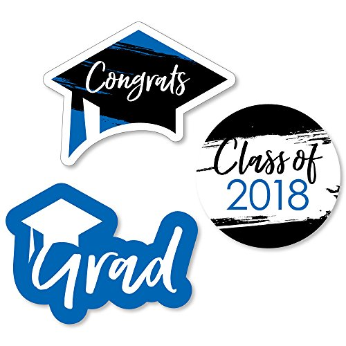 Big Dot of Happiness Blue Grad - Best is Yet to Come - DIY Shaped Royal Blue 2018 Graduation Party Cut-Outs - 24 (Graduation Decorations Diy)