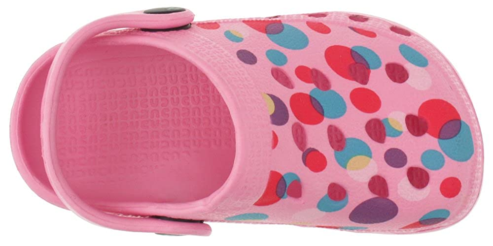 FIG-1542T Capelli New York Toddler Girls Bubble dots Printed Injected EVA Clog with Backstrap