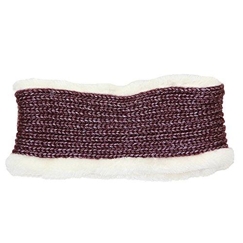 Me Plus Women's Winter Fleece Lined Thick Knit Headband Ear Warmer (Burgundy)