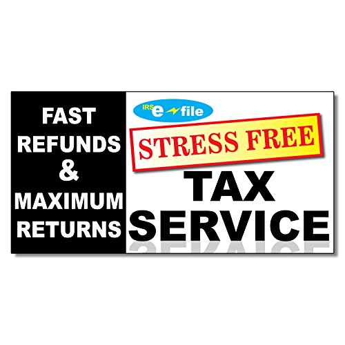 Stress Free Tax Service Business DECAL STICKER Retail Store Sign 9.5 x 24 inches from Fastasticdeals