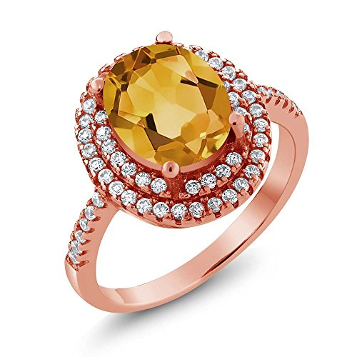Gem Stone King 3.30 Ct Oval Yellow Citrine 18K Rose Gold Plated Silver Ring (Size 5)