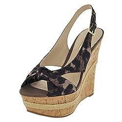 GUESS Women's Delilan Leopard Fabric Sandal 10 M