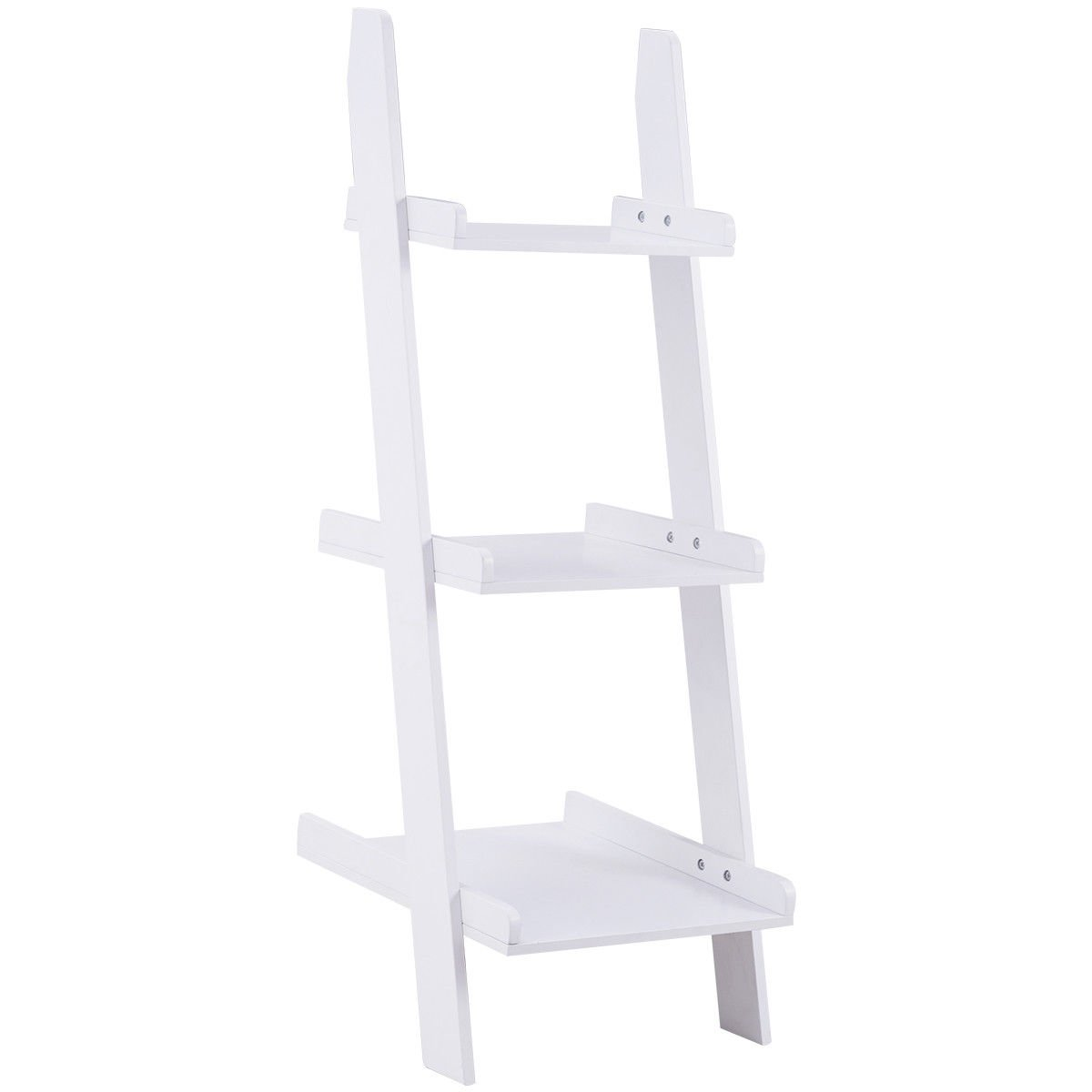 Giantex Ladder Shelf 3-Tier Wall-Leaning Bookshelf Ladder Bookcase Storage Display Shelf for Home and Office, Multipurpose Plant Flower Stand Shelf, White by Giantex