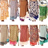 RSJEWELS Wholesale Lot 10 Womens Skirts Printed Reversible Two Layer Wrap Skirt