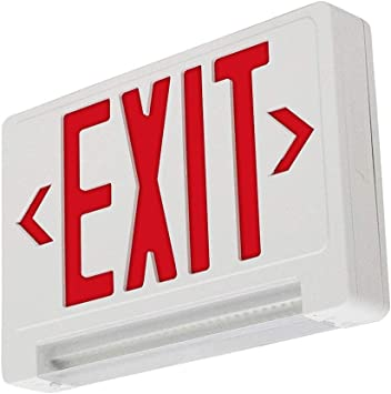 LFI Lights - UL Certified - Hardwired White Housing - Red LED Light Bar Compact Combo Exit Sign Emergency Light - COMBOLPR