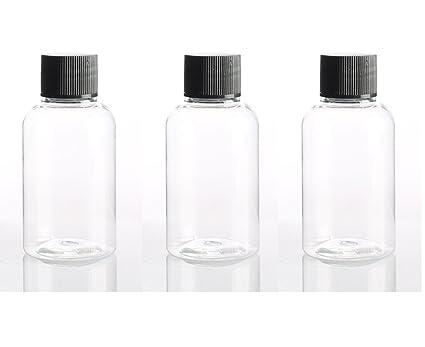 50 x 50 ml redonda transparente PET botellas de plástico con negro bote de tapones de