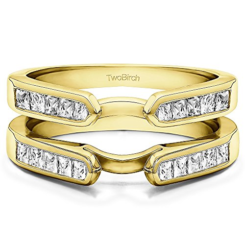 TwoBirch 0.75 ct. Cubic Zirconia Cathedral Style Channel Set Princess Cut Ring Guard in Yellow Plated Sterling Silver (3/4 ct. (Ring Guards Yellow Jewelry)