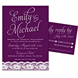 100 Wedding Invitations Plum Lace Design + Envelopes + Response Cards Set