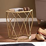Southern Enterprises Joelle Geometric Accent Table, Soft Gold Finish with Antique Mirror