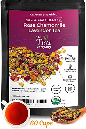 Organic Rose Chamomile Lavender Herbal Tea for Stress Relief and Bedtime Calming and Relaxing Loose Leaf Tea by The Tea Company 4oz