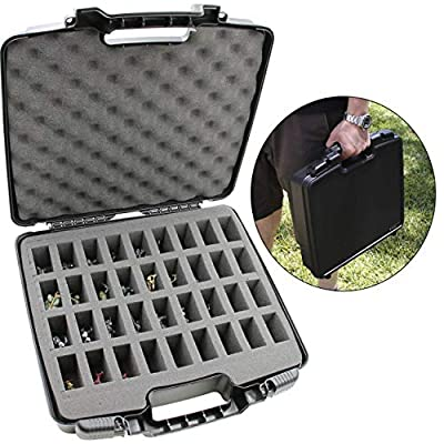 CASEMATIX Hard Shell Miniature Storage Travel Case - 36 Figurine Miniature Organizer and Miniatures Carrying Case with Protective Foam Interior for Dungeons & Dragons, Warhammer, 40K Minis and More!: Toys & Games