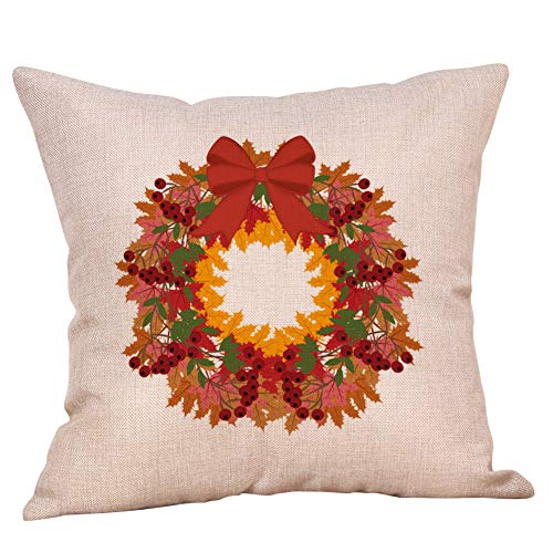 MEANIT Halloween Linen Throw Pillow Covers Fall Pumpkin Harvest Decorative Pillowcases Pillow Covers Square 18x18 inch