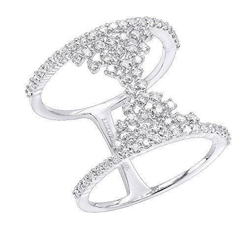 Unique Right Hand Rings (Ladies Unique 14K Gold Designer Diamond Cocktail Ring 0.75ctw (White Gold, Size 7))