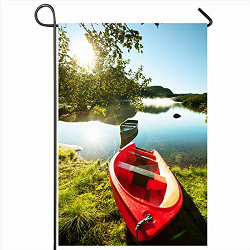 Ahawoso Garden Flag 12x18 Inches Sky Away Boat On Small Mountains Lake Norway Spirit Nature Parks Dawn Fishing Float Fog Design Decorative Seasonal Double Sided Home House Outdoor Yard Sign -